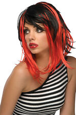 Womens Long Black Red Punk Wig Layers Streaks Emo Rock Star Costume Skunk Hair