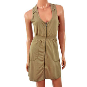 Brave Soul Military Zip Dress (Olive) - Size Medium UK 10-12