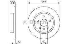 1x BOSCH Disco de Freno Trasero Pleno 268mm Para OPEL ASTRA 0 986 479 C57
