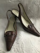e034a6dd5e8 ANNE KLEIN iflex 8.5M TOBIN Brown Leather Pointed Toe Slingback Kitten Heels