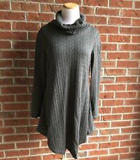 Reborn Collection Charcoal Cable-Knit Cowl Neck Tunic - Size Large