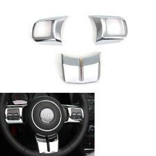 3Pcs Silver Interior Steering Wheel Trim Cover Kit For Jeep Wrangler 2011-2017