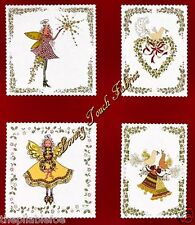(8 BLOCKS) MICHAEL MILLER PIXYWOOD SQS. CHRISTMAS FAIRIES FABRIC PNL 23 1/2X44""