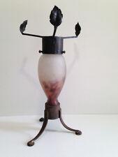Pied de lampe fer forgé & pâte de verre Degué Art déco An 30's 40's 50's