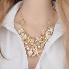 Starfish Seashell Necklace Pearls Beach Nautical Bib Jewelry Gold Chain