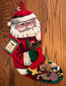 "Beautiful Hooked Yarn Christmas Stocking 3D Design Santa Claus NWT! 18"" New!"