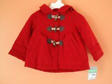 NWT Carters Warm Winter Felt Hooded Red Duffle Coat Baby...