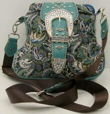 Montana West Paisley Turquoise Flower Print Fabric Crossbody Bag