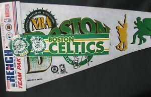 Vintage Boston Celtics Pennant, Pin/Button, Bumper Sticker Trench 1990's New