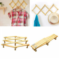 Wooden Clothes Hanger Expandable Home Coat Rack Holder Hat Closet Wall Hook