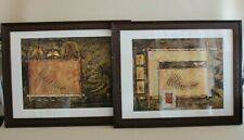 Lot 2 cadres tableaux Riggsbee - décor végétal, naturel, feuilles, papillons