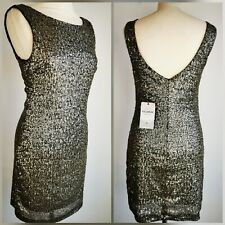 New Pull And Bear Gold Sequin Sparkle Dress Sleeveless Small 10