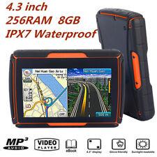 "4.3/"" NAV 8GB Waterproof Touch Screen Bluetooth GPS Moto Auto Navigation/&Free Map"
