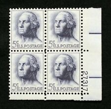 US Plate Blocks Stamps #1213 ~ 1962 GEORGE WASHINGTON 5c Plate Block of 4 MNH