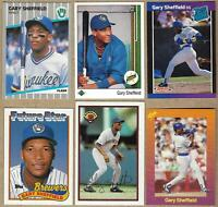 1989 GARY SHEFFIELD Rookie 6 Card Lot: Topps, Donruss, Bowman, Upper Deck, Fleer