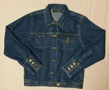 Women's KYOTO KASUALS 100% cotton blue denim jeans jacket size SMALL  nice!