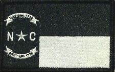 NORTH CAROLINA Flag Iron-On Patch Black & White Version, Black Border #47