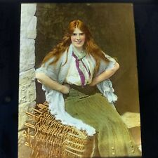 Magic Lantern Slide Photo Ireland Hand Color Irish Colleen Red Haired Woman