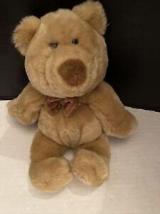"Animal Alley Plush tan brown teddy bear 2000 Toys ""R"" Us bow tye tie 12"""