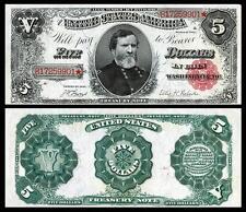 NICE CRISP UNC. 1891 $5.00 TREASURY BANKNOTE COPY PLEASE READ DESCRIPTION