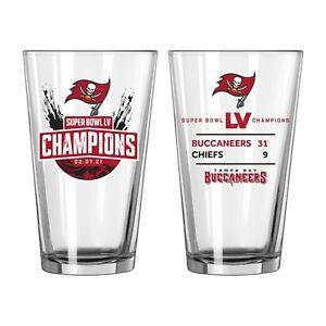Super Bowl LV 55 Champions Tampa Bay Buccaneers Summary Pint Glass 16oz