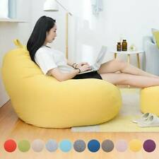 Lazy Lounger Sofa Chair Cover Linen Large Bean Bag Couch Removable Protector
