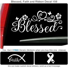 Blessed Ribbon Faith vinyl Truck Car Flower Fish Window Art Sticker Decal 156