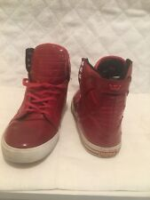 SUPRA SKYTOP RED SKATEBOARD SNEAKER ALL LEATHER RED SHOES SZ 8.5