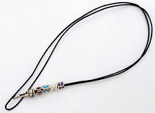 PANDORA LEATHER LARIAT CORD NECKLACE 925 ALE SILVER ENDS & 5 RETIRED CHARMS. NEW
