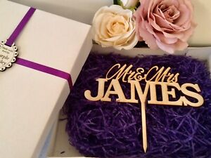 Personalised Wooden Wedding Cake Topper - Mr & Mrs in Large or Medium Size