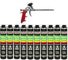 SET Pistolenschaum 10 x 750 ml + 1  Metall Schaumpistole Montageschaum Qualität