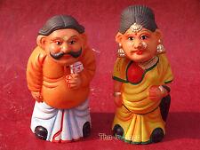 Couple Statuettes Terre Cuite avec Tête qui Bouge H=15cm 100% Artisanat Inde 4
