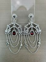 EUC Chloe + Isabel Red Crystal, Crystal Chandelier Silver Chain Pave Earrings