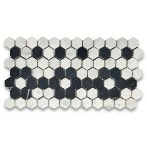 Carrara White Marble 1 inch Hexagon Mosaic Border Listello Tile Black Flower