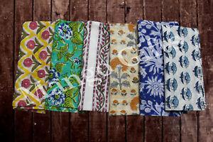 Hand Block Print 100%Cotton Voile Fabric Table Napkins Assort. Indian Set 12 Pcs