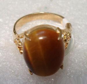 Real Tigereye Opal Stone 18KGP Ring Size: 6.7.8.9