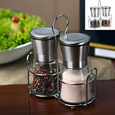 New Stainless Steel Brushed Salt Mill Pepper Grinder Bottle With Glass Bottle