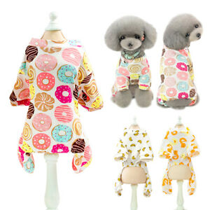 Cute Cartoon Dog Cat Pajamas Soft Cotton Jumpsuit Clothes for Small Medium Dogs