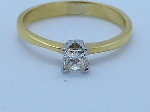 Außergewöhnliche H/VVS 30 Punkt Diamant Solitär in 18k Gelbgold Gr. m1/2