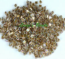 11/0 Triangle TOHO Japan  Glass Seed Beads #994- Gold-Lined Rainbow Crystal 15g