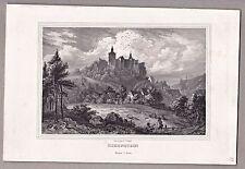 Kirchsittenbach i. Franken - Ansicht der Burg Hohenstein - Stahlstich v. Poppel