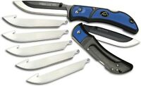 "Outdoor Edge Razor Lite EDC Knife 3 ½"" Replaceable Drop Point Blade Blue Handle"