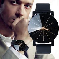 Men Women Leather Stainless Steel Sports Watch Fashion Analog Quartz Wrist Watch