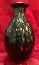 Black Art Glass Flower Bud Vase Gold Cupper Inclusions 8 in high  Vintage
