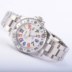 40mm BLIGER white dial GMT sapphire glass mechanical automatic mens watch