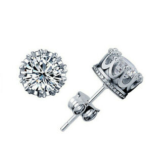 UK Hot Selling Solitaire Crown Stud Earring AAA CZ Silver Plated Girl Jewelry