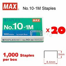 lot of 20 boxes MAX No.10-1M Staples (1,000 staples) for Office Stapler