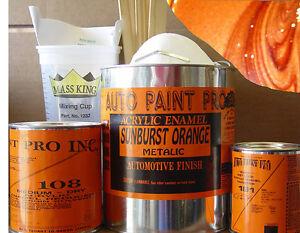 Sunburst orange metalic kit acrylic enamel single stage restoration auto paint