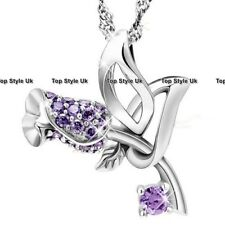 Amethyst Necklace Girlfriend Presents for Her Mother Wife Niece Purple Rose J402