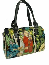 DOCTOR BAG SATCHEL BAG WITH FRIDA  IN JUNGLE LATINO ARTIST PATTERN , NEW